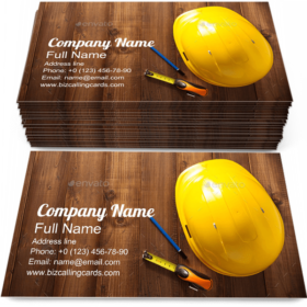 Construction Hardhat Business Card Template
