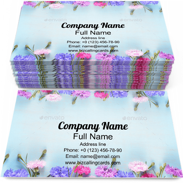 Sample of Cornflowers calling card design for advertisements marketing ideas and promote florist branding identity