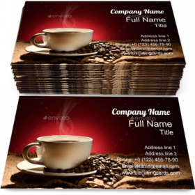 Cup Coffee with Smoke Business Card Template