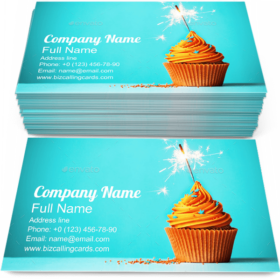 Cupcake with Sparkler Business Card Template