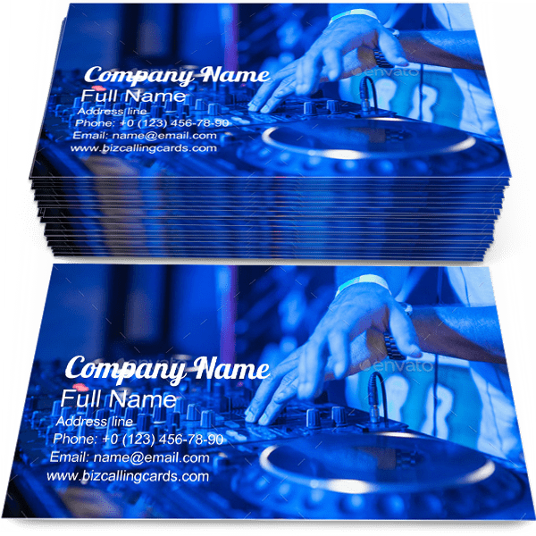 Sample of DJ business card design for advertisements marketing ideas and promote Music Mixer branding identity