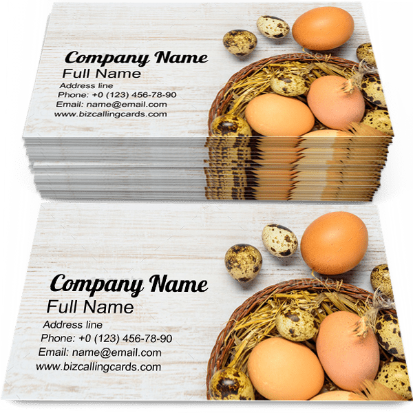 Sample of Eggs business card design for advertisements marketing ideas and promote farm branding identity
