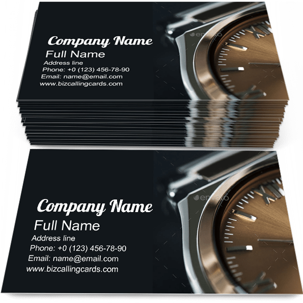 Sample of Luxury Watch business card design for advertisements marketing ideas and promote wristwatch branding identity