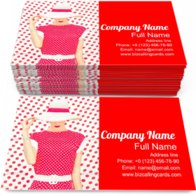 Fashion Polka Dots Dress Business Card Template