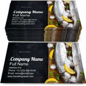 Fish Restaurant Menu Business Card Template