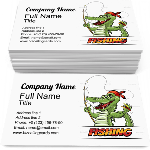 Sample of Crocodile business card design for advertisements marketing ideas and promote Fishing  branding identity