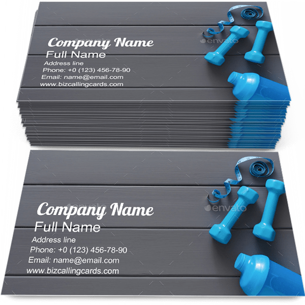 Sample of Fitness business card design for advertisements marketing ideas and promote sport branding identity