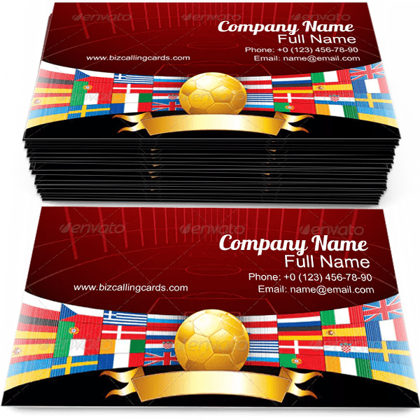 Sample of Soccer Ball business card design for advertisements marketing ideas and promote stadium branding identity