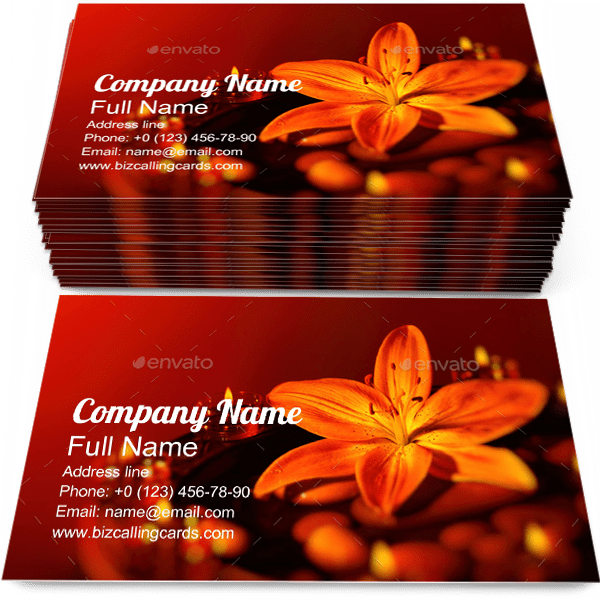 Sample of Lily calling card design for advertisements marketing ideas and promote Aroma Flower branding identity