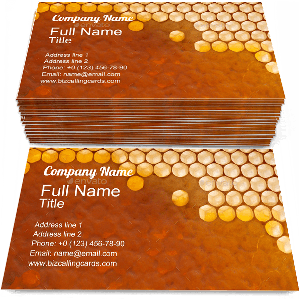 Sample of Honey business card design for advertisements marketing ideas and promote Organic branding identity