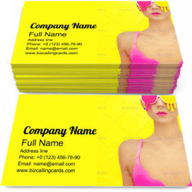 Girl in Colorful Glasses Business Card Template