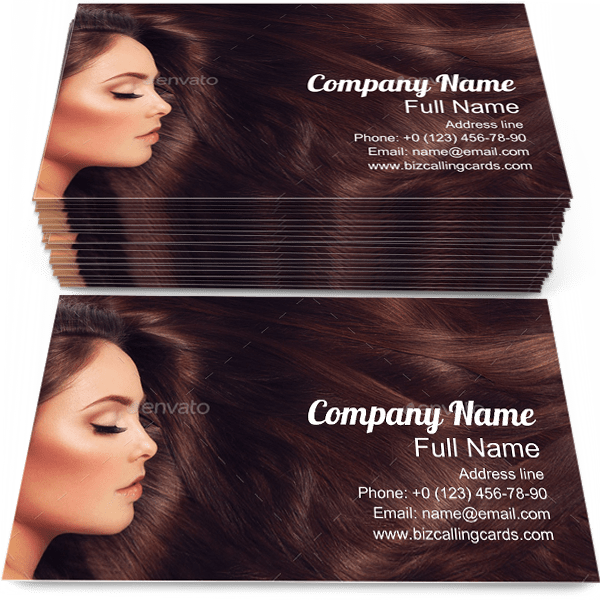 Sample of Long Hair business card design for advertisements marketing ideas and promote haircare branding identity