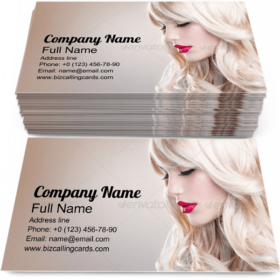 Girl with Long Wavy Hair Business Card Template