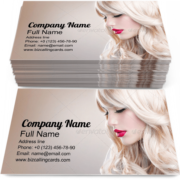 Sample of Long Wavy Hair business card design for advertisements marketing ideas and promote hairstyling branding identity