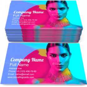 Girl with Trendy Makeup Business Card Template