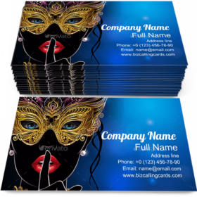 Golden Carnival Mask Business Card Template