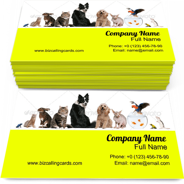 Sample of Pets calling card design for advertisements marketing ideas and promote Animals branding identity
