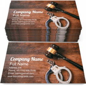 Handcuffs and a Gavel Business Card Template