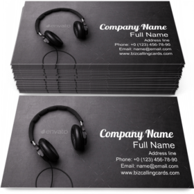 Headphones on Table Business Card Template