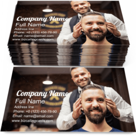Hipster in Barbershop Business Card Template