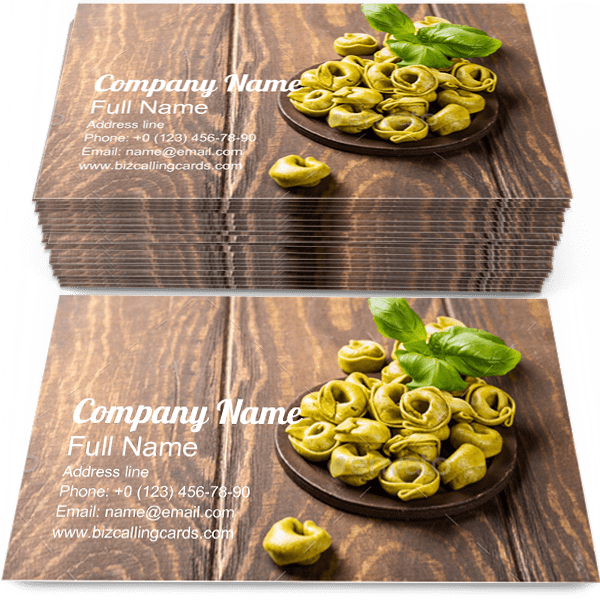 Sample of Tortellini calling card design for advertisements marketing ideas and promote food branding identity