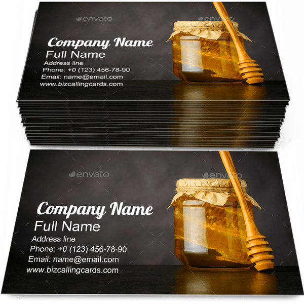 Sample of Honey Jar calling card design for advertisements marketing ideas and promote mead branding identity
