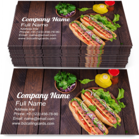 Hot dog with sausage Business Card Template