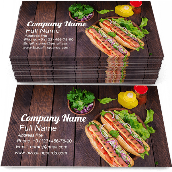 Sample of Hot dog business card design for advertisements marketing ideas and promote fastfood branding identity