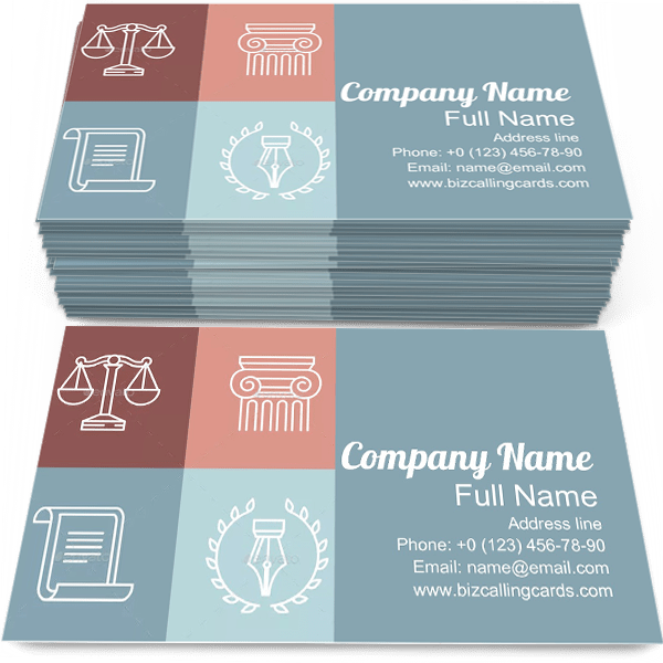 Sample of Juridical calling card design for advertisements marketing ideas and promote Legal Logos branding identity