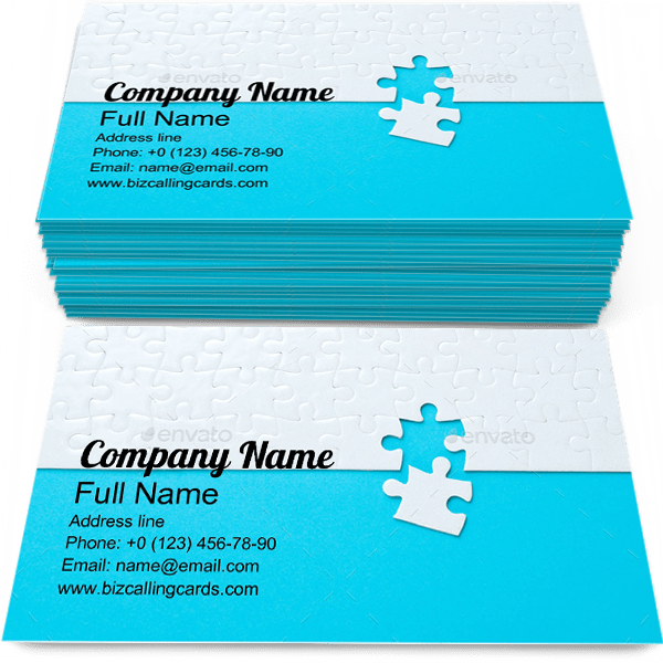 Sample of Puzzle business card design for advertisements marketing ideas and promote success solution branding identity