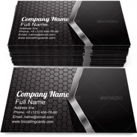 Metallic Hexagon Grid Business Card Template