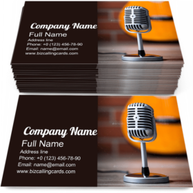 Microphone and Guitar Business Card Template