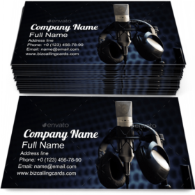 Microphone in Studio Business Card Template