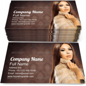 Model in Fox Fur Coat Business Card Template