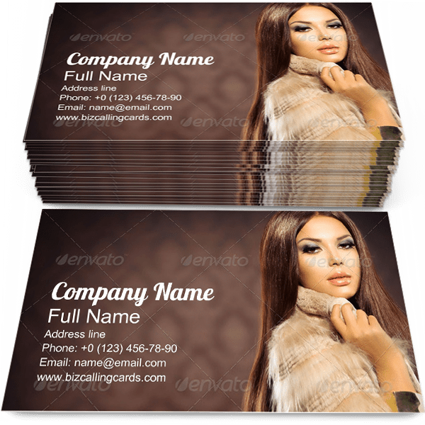 Sample of Fox Fur Coat business card design for advertisements marketing ideas and promote luxurious fashion branding identity