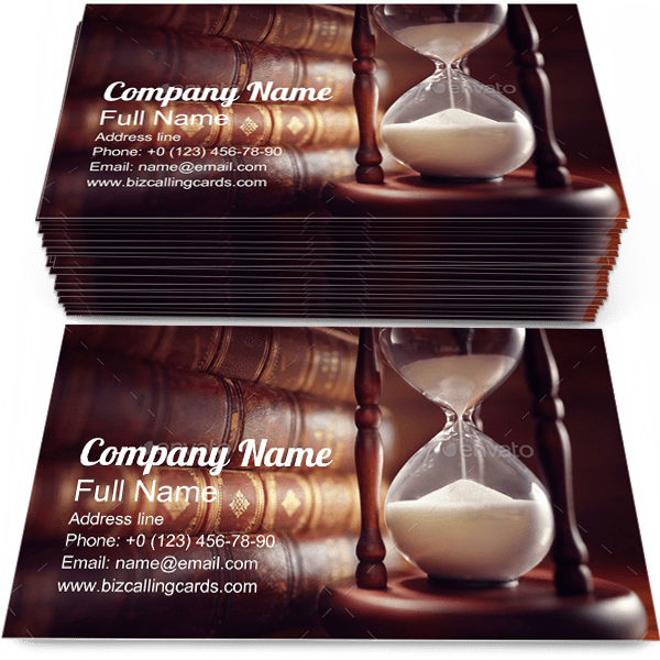 Old Books and Hourglass Business Card Template