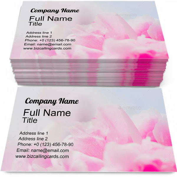Sample of Peony calling card design for advertisements marketing ideas and promote Flowers branding identity