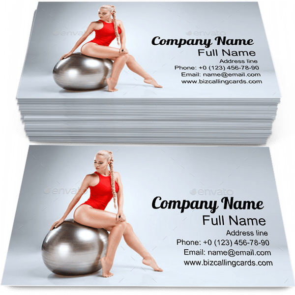 Sample of Fitness calling card design for advertisements marketing ideas and promote sportswoman branding identity