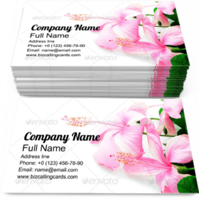 Pink Hibiscus Flower Business Card Template