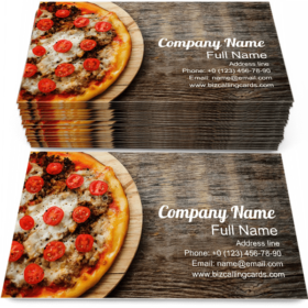 Pizza with Mozzarella Business Card Template