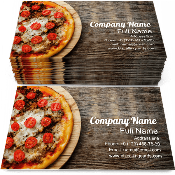 Sample of Pizza business card design for advertisements marketing ideas and promote Mozzarella branding identity