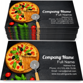 Pizza with Tomato & Basil Business Card Template