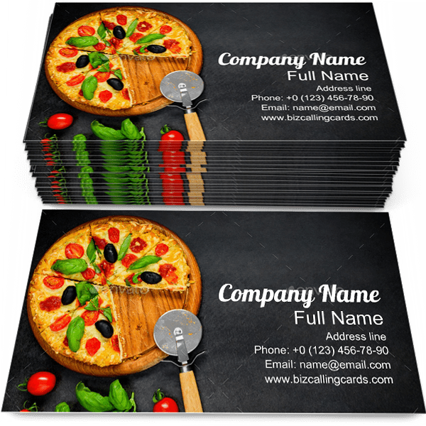 Sample of Pizza business card design for advertisements marketing ideas and promote pizzeria branding identity