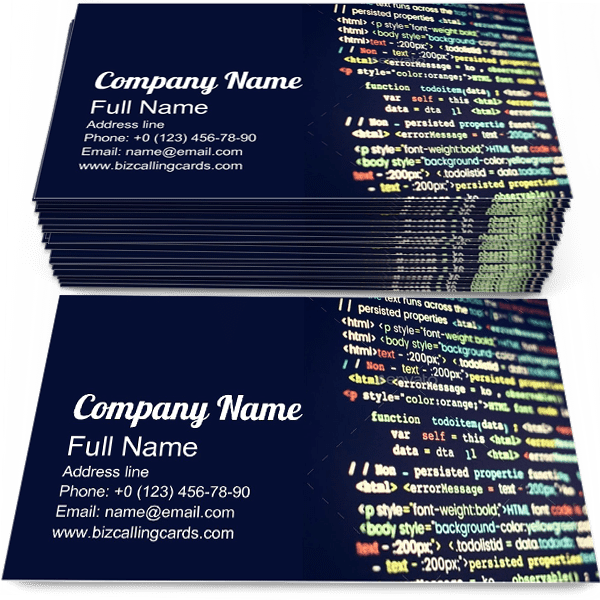 Sample of Coding business card design for advertisements marketing ideas and promote cyberspace branding identity
