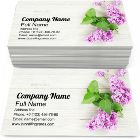 Purple Lilac Flowers Business Card Template