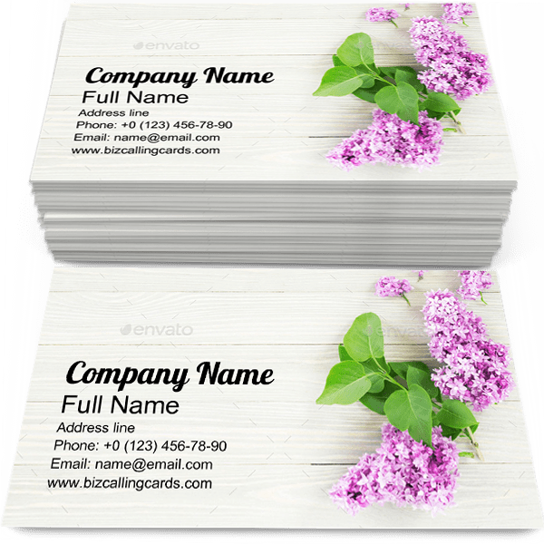 Sample of Lilac business card design for advertisements marketing ideas and promote Flowers branding identity
