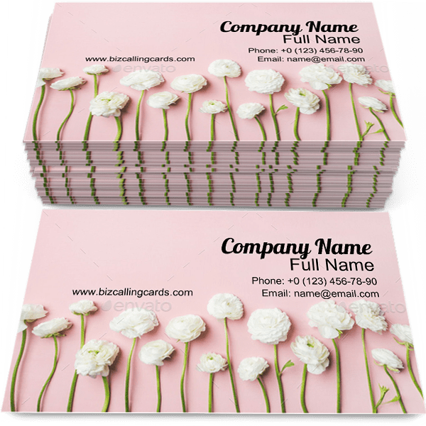 Sample of Ranunculus calling card design for advertisements marketing ideas and promote Flowers branding identity