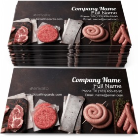 Raw Meat and Sausages Business Card Template