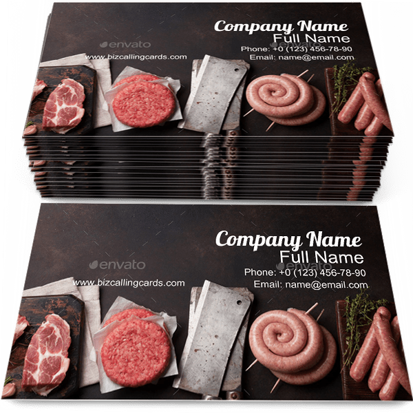 Sample of Sausages business card design for advertisements marketing ideas and promote Meat branding identity