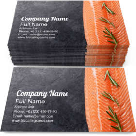 Raw Salmon Fish Fillet Business Card Template